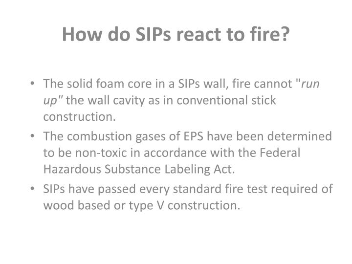 How do SIPs react to fire?
