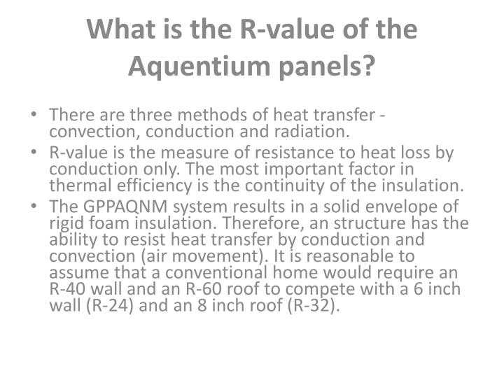 What is the R-value of the Aquentium panels?