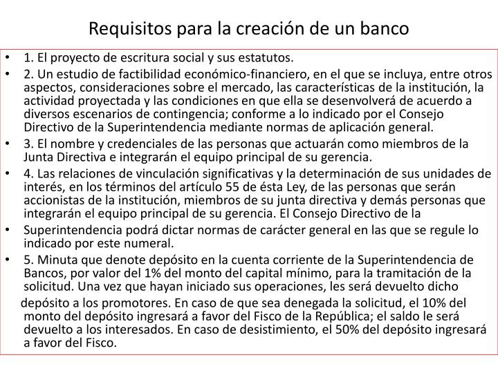 Requisitos para la creación de un banco
