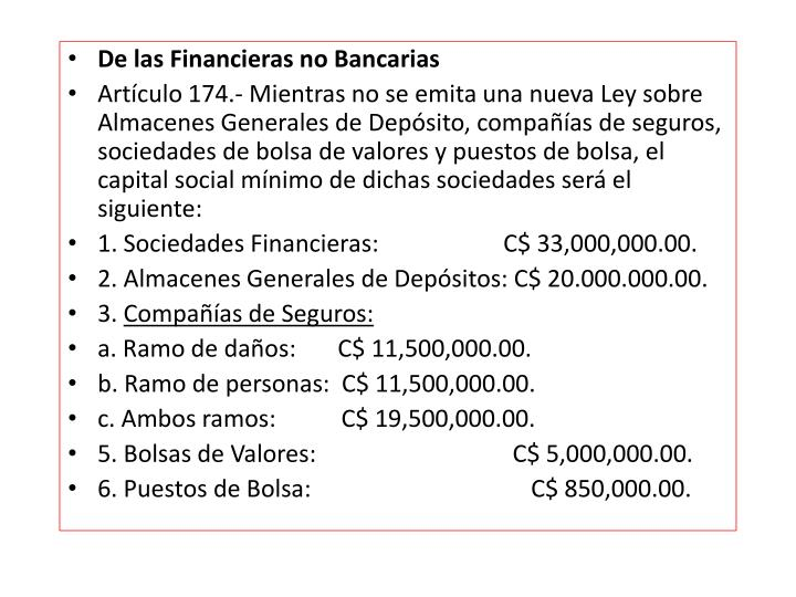 De las Financieras no Bancarias