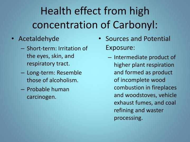 Health effect from high concentration of
