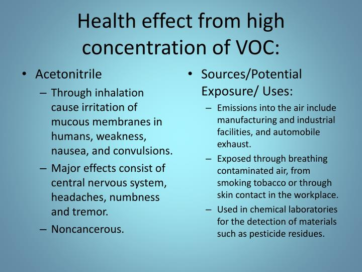 Health effect from high concentration of VOC: