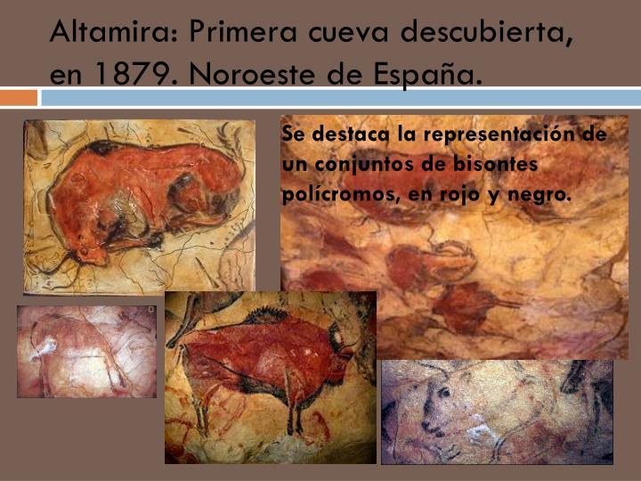 Altamira: Primera cueva descubierta, en 1879. Noroeste de España.