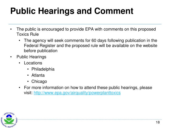 Public Hearings and Comment