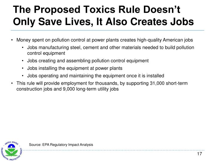 The Proposed Toxics Rule Doesn't Only Save Lives, It Also Creates Jobs