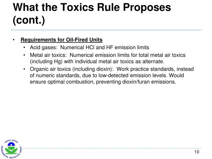 What the Toxics Rule Proposes (cont.)