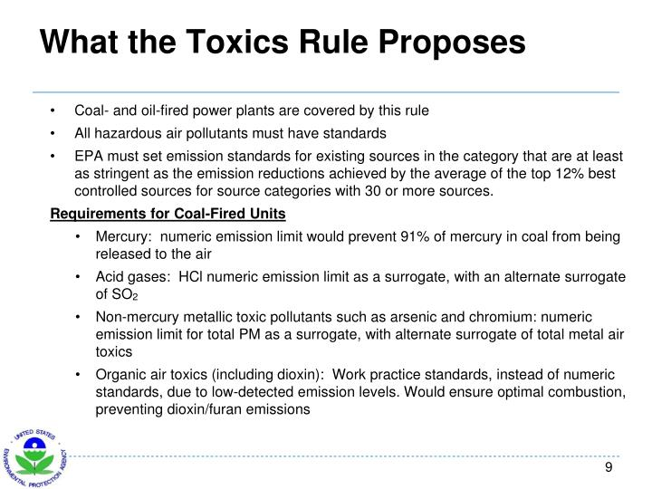 What the Toxics Rule Proposes