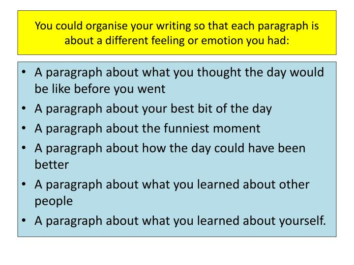 You could organise your writing so that each paragraph is about a different feeling or emotion you had: