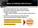 status of hangul idn @ korea