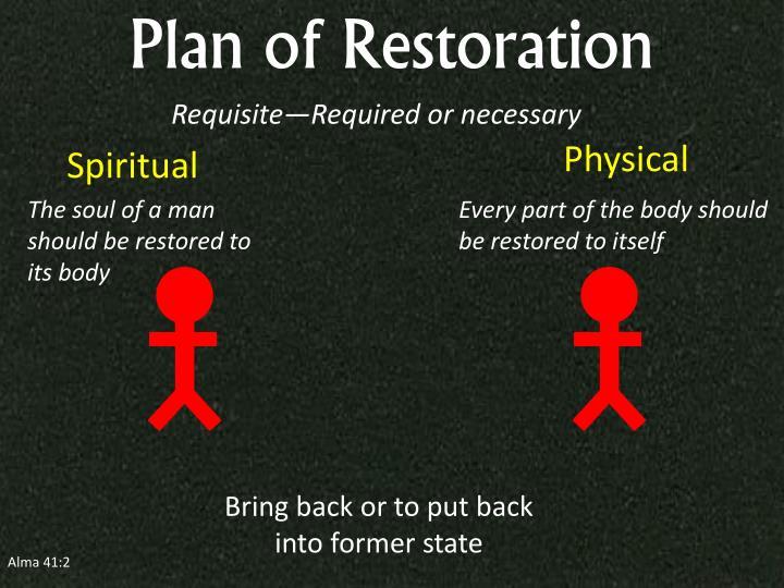 Plan of Restoration