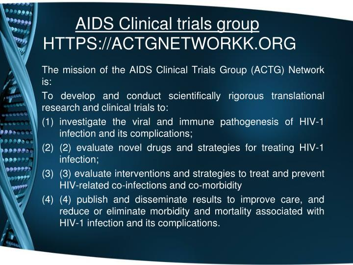 Aids clinical trials group https actgnetworkk org