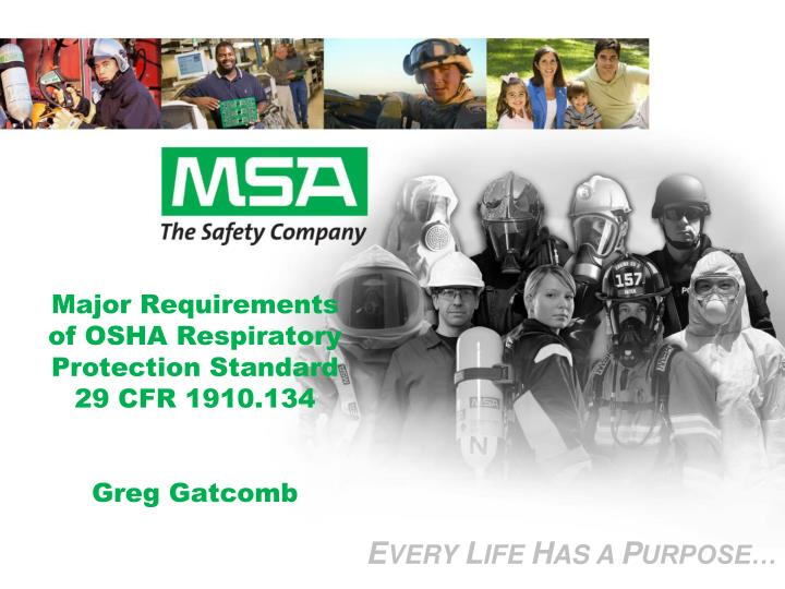 Major requirements of osha respiratory protection standard 29 cfr 1910 134 greg gatcomb