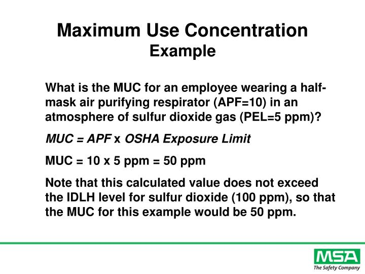 Maximum Use Concentration