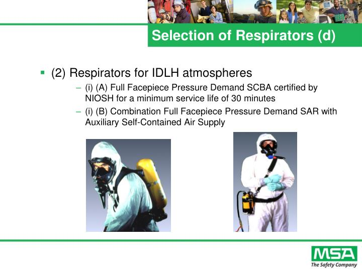 Selection of Respirators (d)