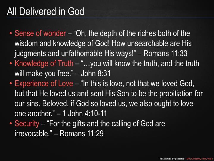 All Delivered in God