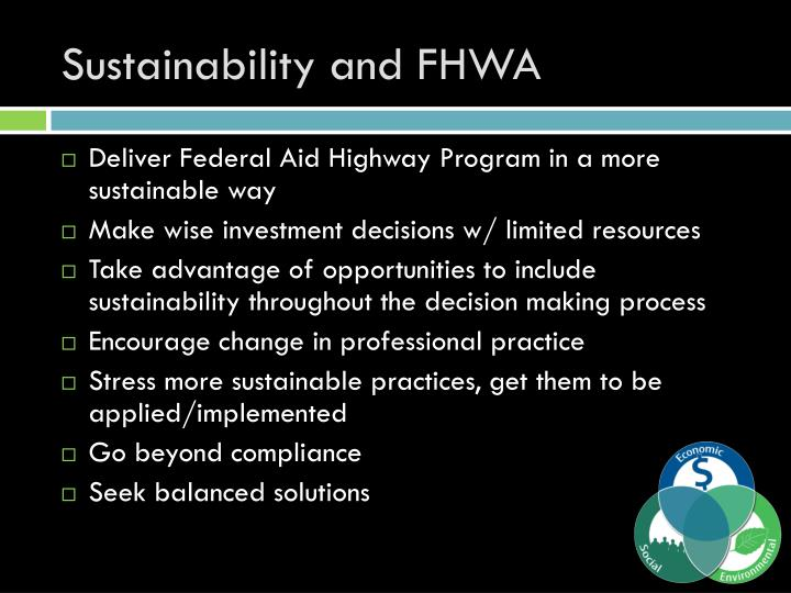 Sustainability and FHWA