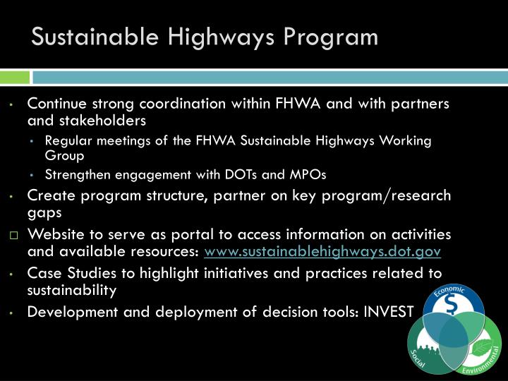 Sustainable Highways Program