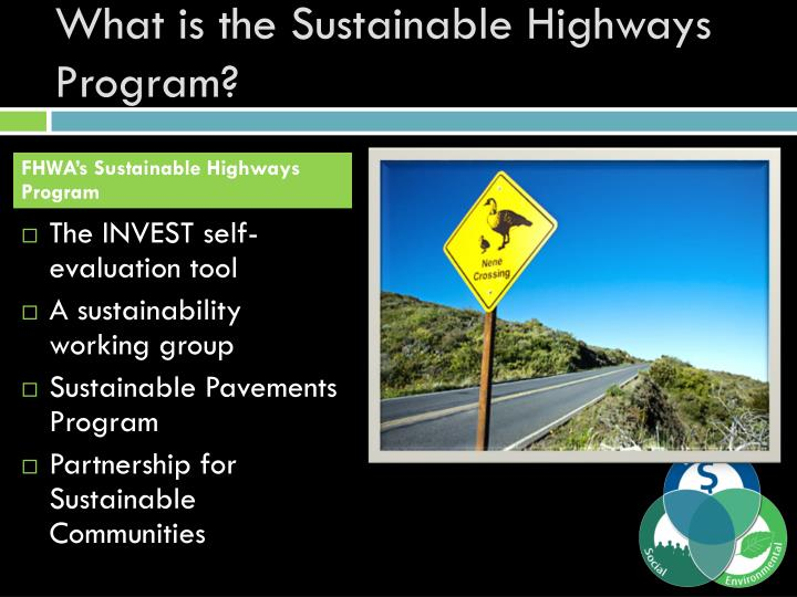 What is the Sustainable Highways Program?
