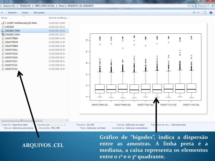 """Gráfico de """"bigodes"""", indica a dispersão entre as amostras. A linha preta é a mediana, a caixa representa os elementos entre o 1"""