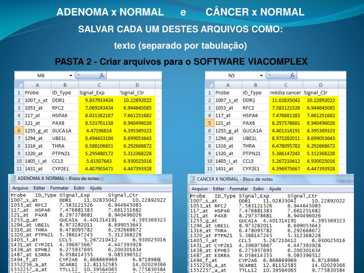 ADENOMA x NORMAL      e       CÂNCER x NORMAL