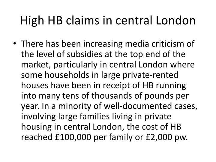 High HB claims in central London