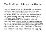 the coalition picks up the theme