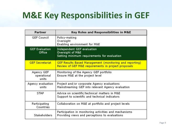 M&E Key Responsibilities in GEF