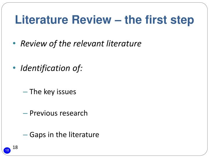 Literature Review – the first step