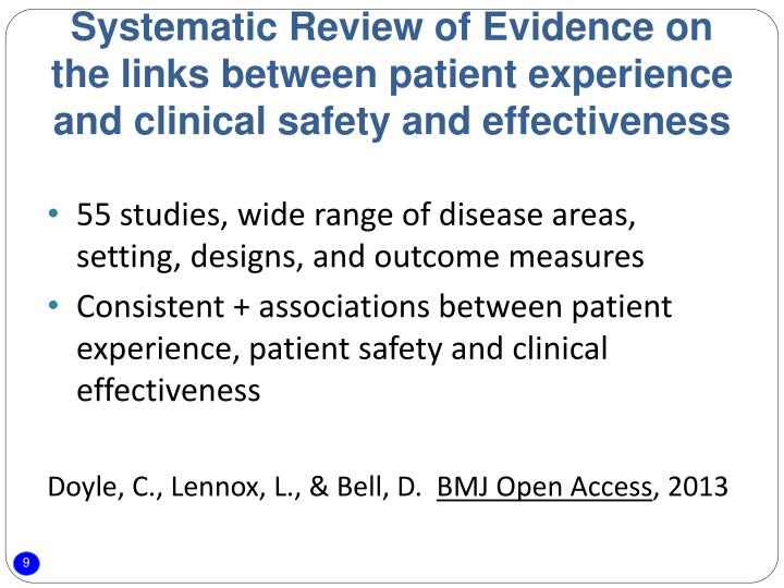 Systematic Review of Evidence on the links between patient experience and clinical safety and effectiveness