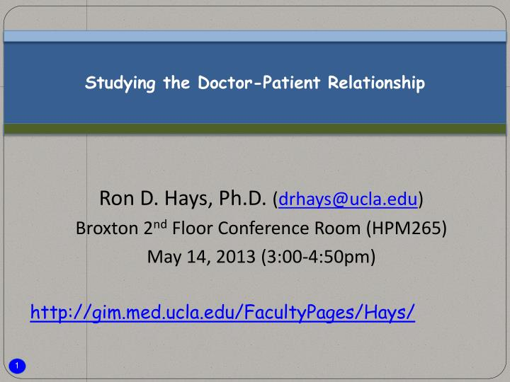 Studying the doctor patient relationship