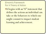 elmore s framework for a theory of action