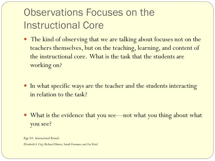 Observations Focuses on the Instructional Core