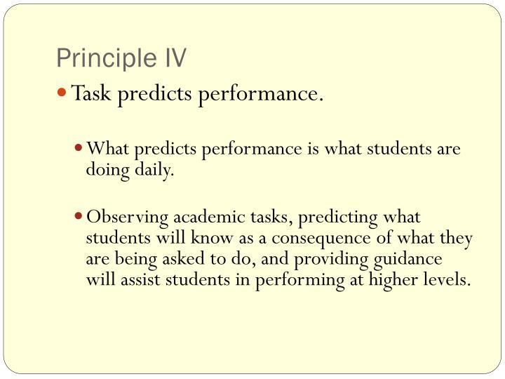 Principle IV