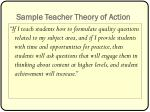 sample teacher theory of action