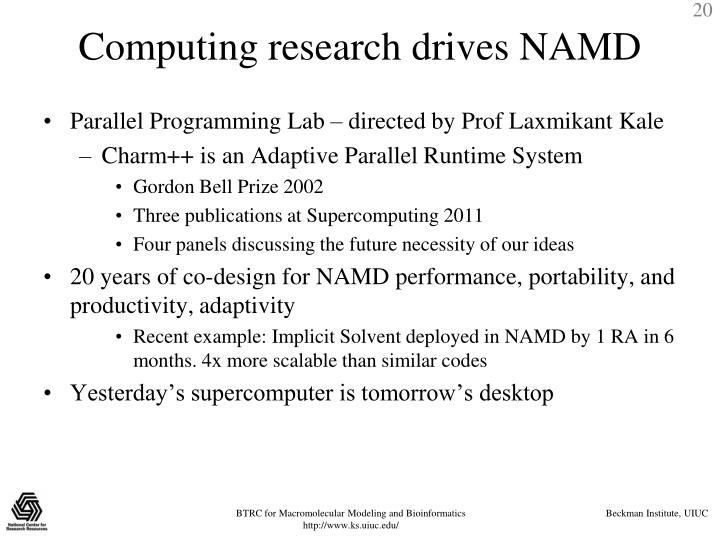 Computing research drives NAMD