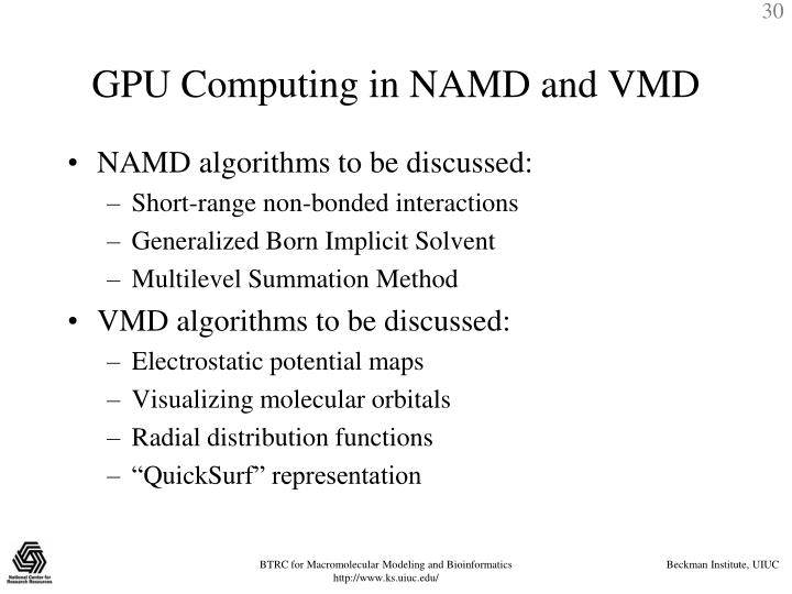 GPU Computing in NAMD and VMD