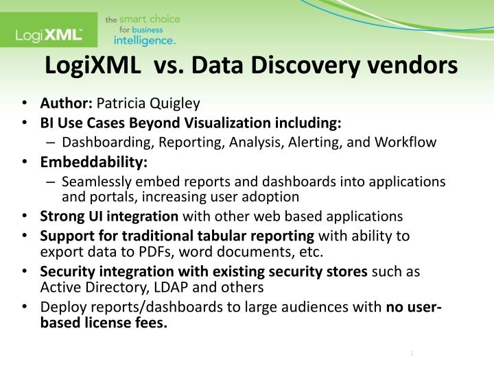 Logixml vs data discovery vendors
