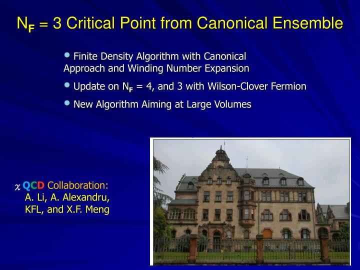 N f 3 critical point from canonical ensemble