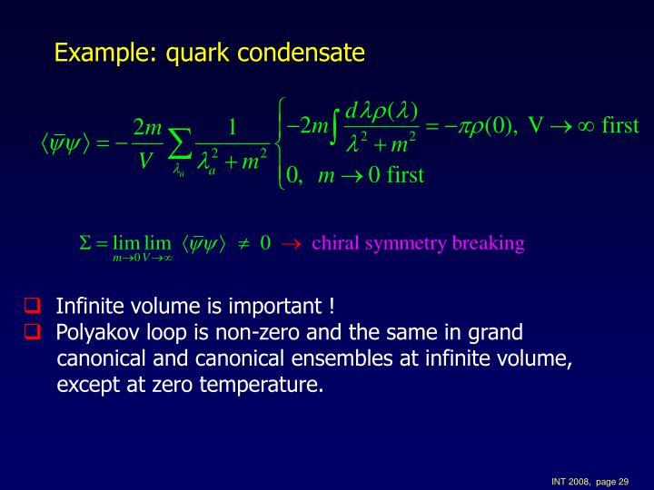Example: quark condensate