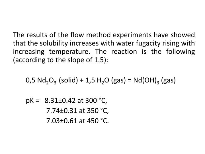 The results of the flow method experiments have showed that the solubility increases with water fugacity rising with increasing temperature. The reaction is the following (according to the slope of 1.5)
