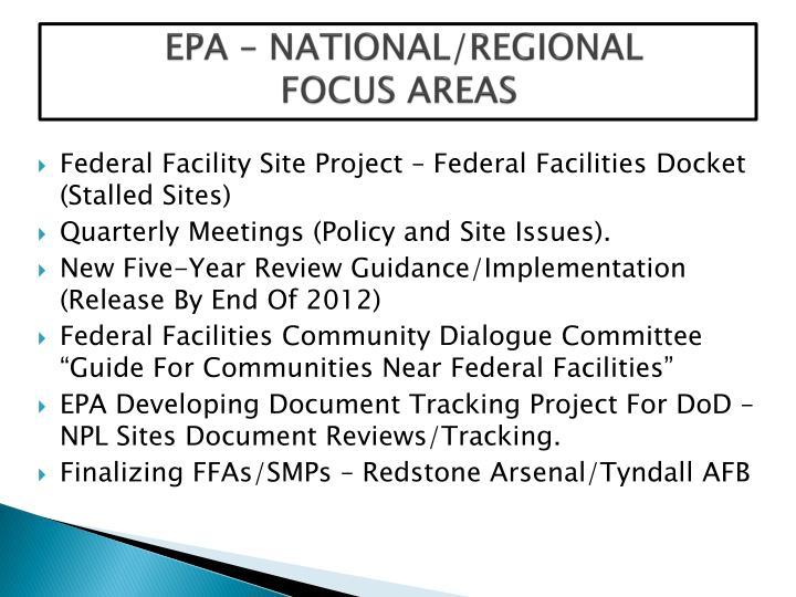 EPA – NATIONAL/REGIONAL