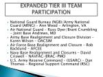 expanded tier iii team participation