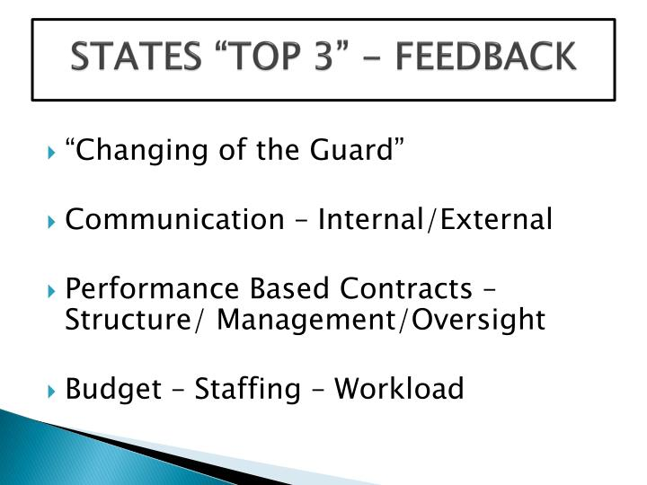 "STATES ""TOP 3"" - FEEDBACK"
