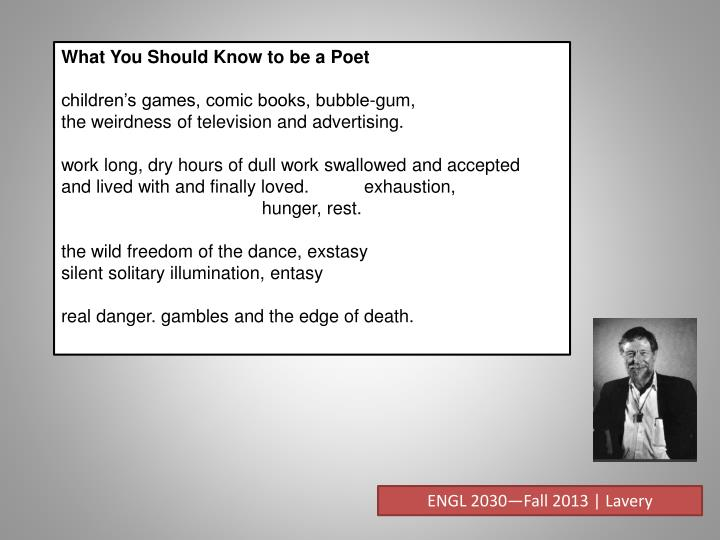 What You Should Know to be a Poet