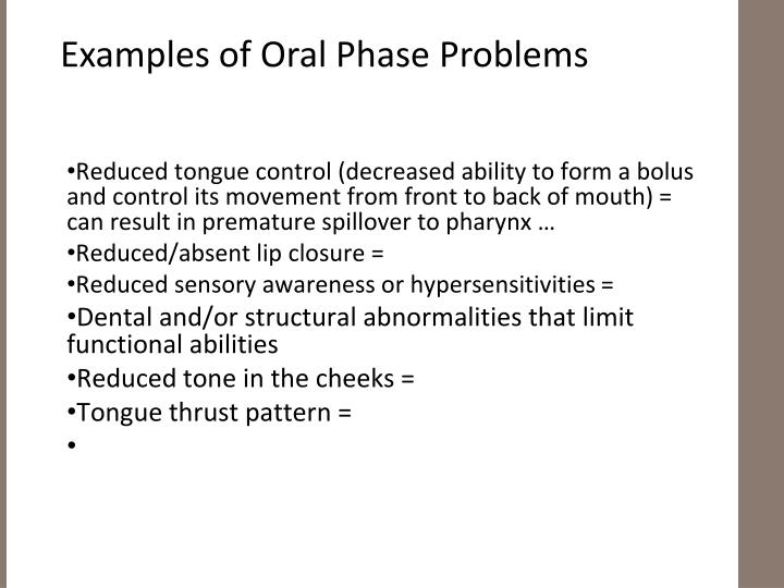 Examples of Oral Phase Problems