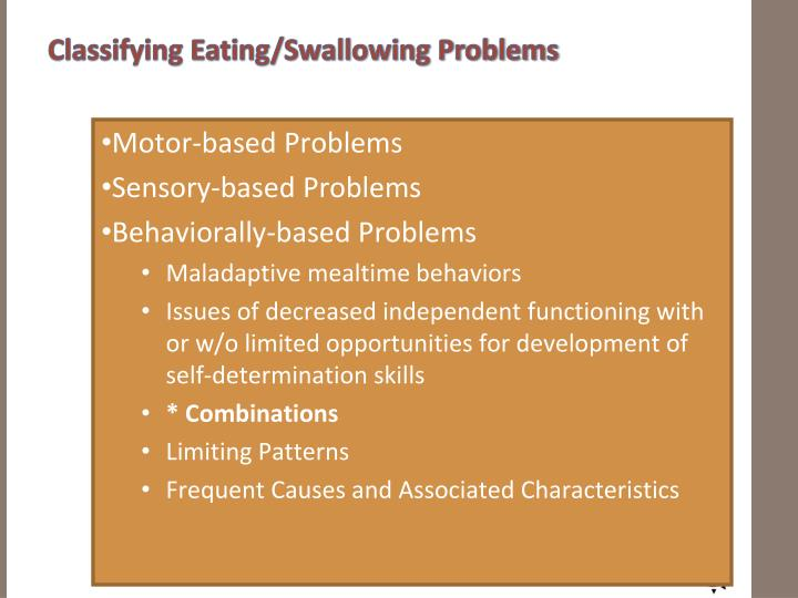 Classifying Eating/Swallowing Problems