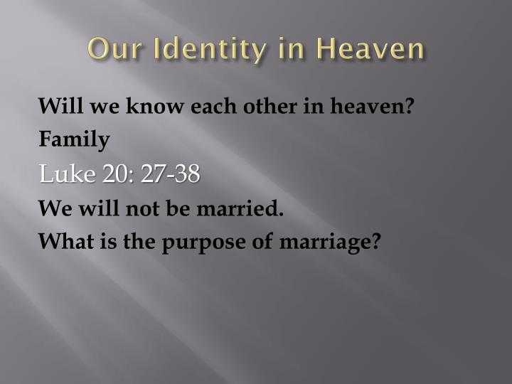 Our Identity in Heaven