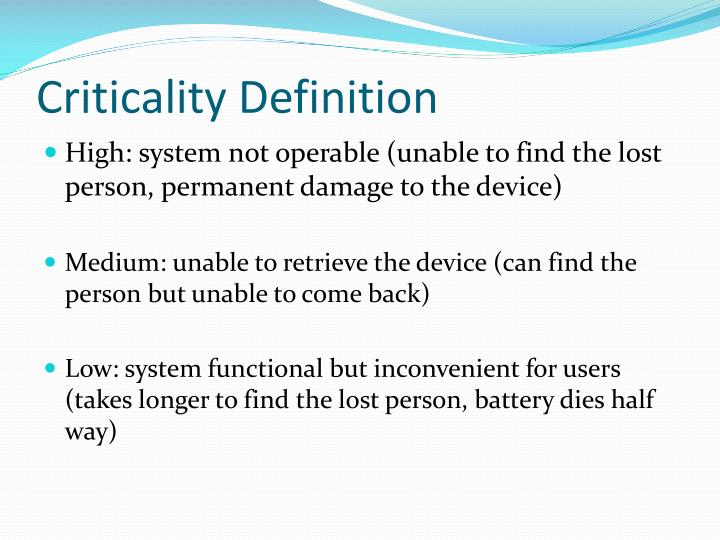 Criticality Definition