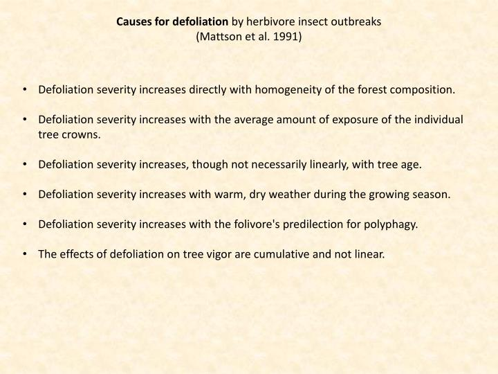 Causes for defoliation