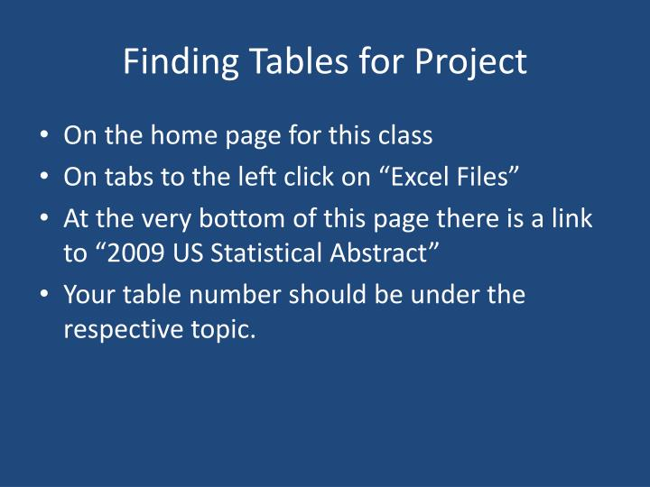 Finding Tables for Project